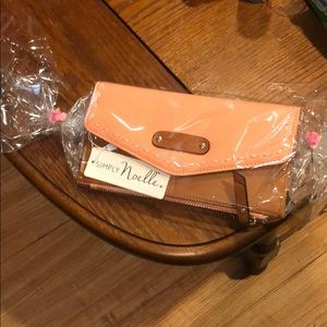 NWT peach and tan brown wristlet gift wrap